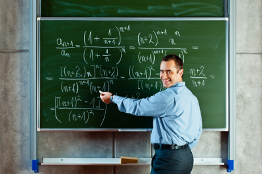 Photo of Math Professor working equations